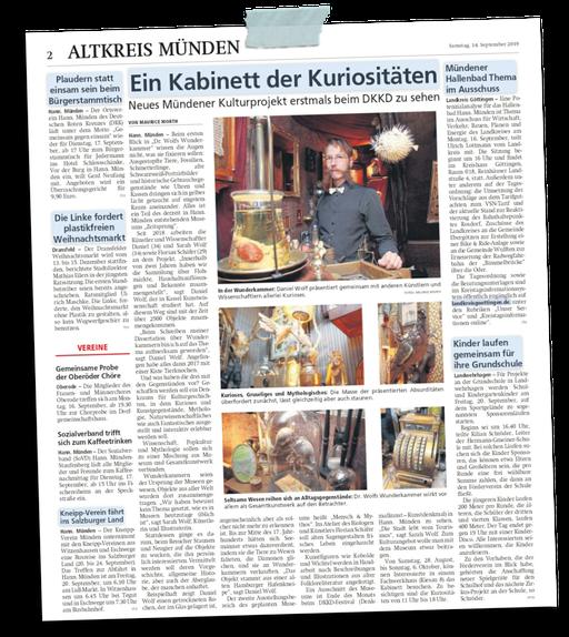 aus der Mündener Allgemeinen 14.9.2019