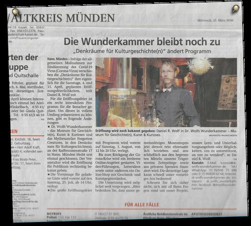 aus der Mündener Allgemeinen 25.3.2020