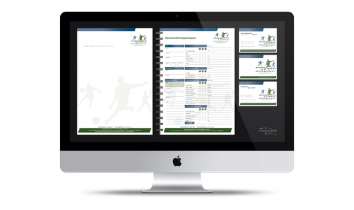 DIN A4 Briefbogen (1-seitig, Hochformat), Beobachtungsbogen (DIN A4 Spiralblock), Visitenkarten (2-seitig, Querformat) – Destiny Sports Management – we go beyond 90 min – Emmanuel Gyasi