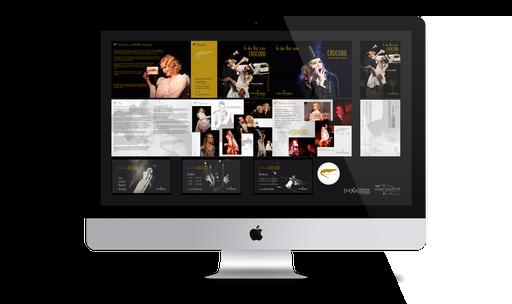 DIN A5 Folder (6-seitig, Querformat), DIN A6 Postkarte (2-seitig, Hochformat), DVD Menü, Bruchsiegel – Teresa Weißbach – Liederabend »In der Bar zum CROCODIL« in Kooperation mit Julia Wagener (Texo Design Studio)