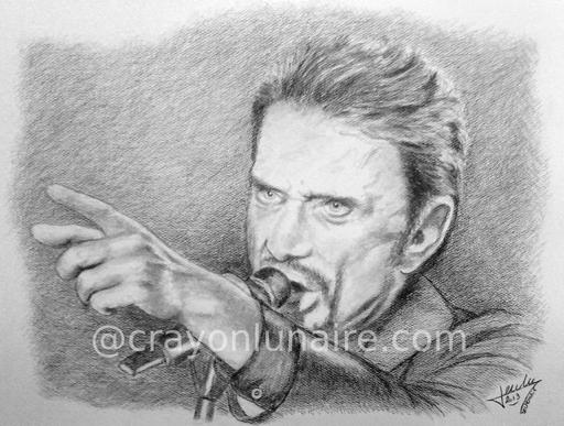 Johnny Hallyday portrait graphite