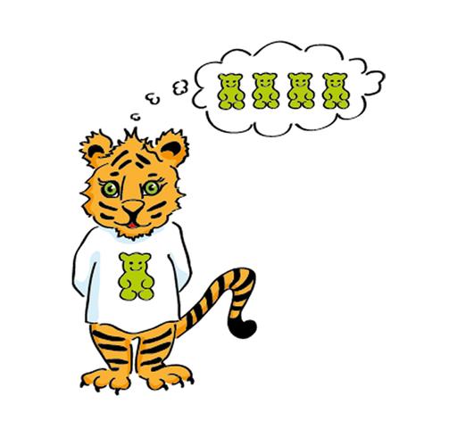 Gummibärchen-Tiger – Charakter-Design für ein Bilderbuch