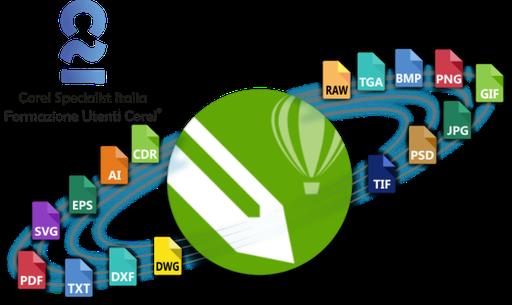 """Elemento grafico vettoriale, per locandina webinar: """"CorelDRAW Importa ed Esporta"""""""