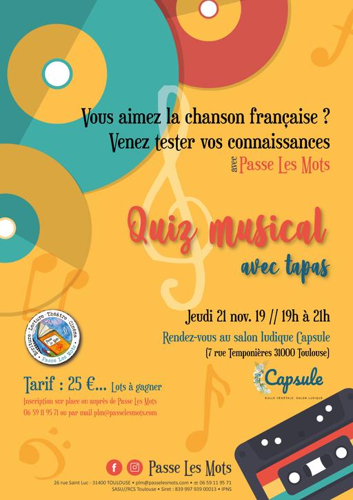 Affiche, flyer pour Quiz Passe Les Mots (Toulouse)