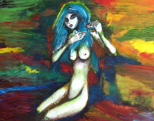 Blue, acryl op canvas, ca 2014, verkocht