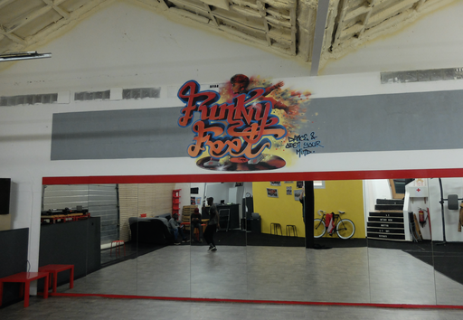 Fresque salle de danse Funky Feet Academy_Namur_2017
