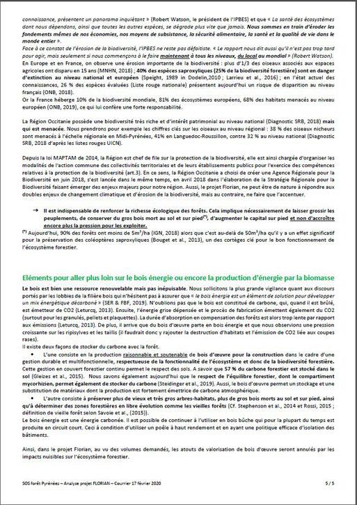 Courrier aux élus communaux, communautaires, départementaux et régionaux par SOS Forêt Pyrénées-P6