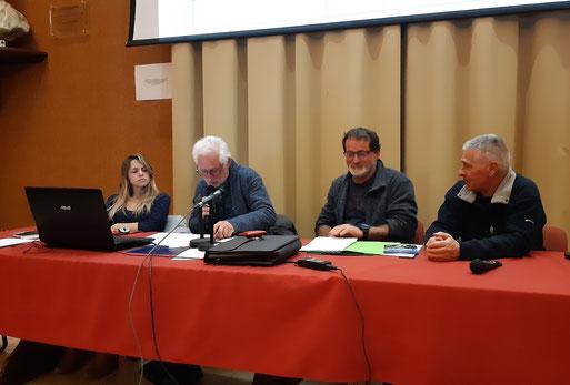 AG de l'association pour la Conservation du Cadre de vie d'Oloron et du Bager (ACCOB), une partie du Bureau présentant Rapport moral, Financier, les projets, les nouvelles candidates  au CA 2020