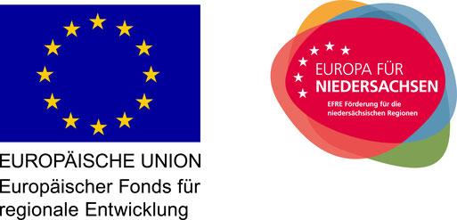 Flagge Europäische Union, Europäische Fonds für regionale Entwicklung, und Logo Europa für Niedersachsen, EFRE Förderung für die niedersächsischen Regionen