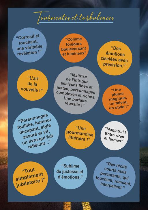 sacha stellie; tourmentes et turbulences; nouvelles; avis lecteurs; amazon; bulles de bonheur; feel good book; critique litteraire