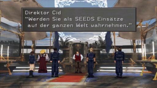 Nach der Prüfung werden Selphie, Nida, Xell und Squall von Direktor Cid zu SeeDs befördert