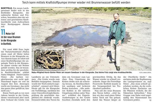 NABU legte für Knoblauchkröte Brunnen in Bortfelder Kiesgrube an