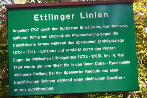 vorbei geht es an den Ettlinger Linien - erklärende Tafel