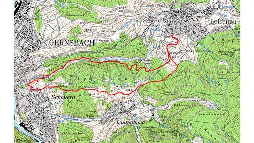 Wanderroute: Loffenau-Scheuern-Lautenbach-Loffenau - 9 km