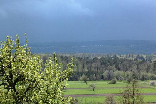 wechselhaftes Wetter - Blick von Spielberg in den Nordschwarzwald (G. Franke, 05.05.2021)