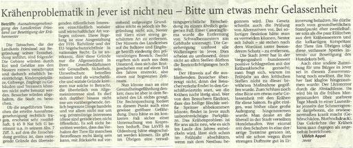 Jewersches Wochenblatt v. 16.5.2013- Leserbrief zur Krähenproblematik
