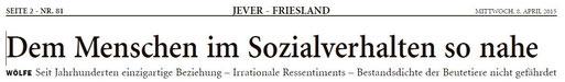 Artikel von A. Bürgener im Jeverschen Wochenblatt v. 08.04.2015    -  bitte anklicken