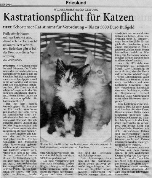 Wilhelmshavener Zeitung v. 1.11.2014