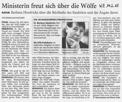Wilhelmshavener Zeitung  v. 14.2.2015
