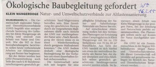 Wilhelmshavener Zeitung v. 16.2.2015