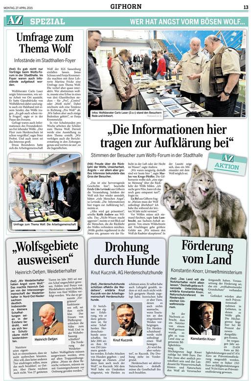 Aller Zeitung vom 27.04.2015