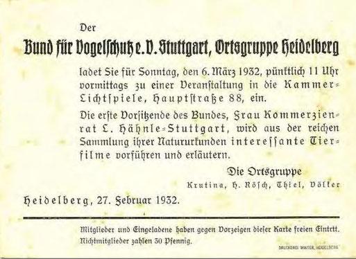 Eine Einladung zu einem Vortrag in Heidelberg  1932