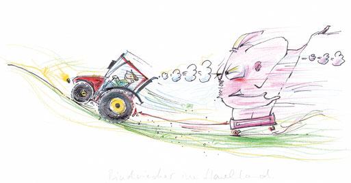 Ein Traktor zieht auf einem Anhänder einen rosa Elefanten. Der Traktor stinkt, der Elefant pupt.