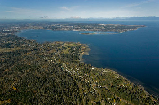 Aerial view of south of Royston and the bay in the Comox Valley