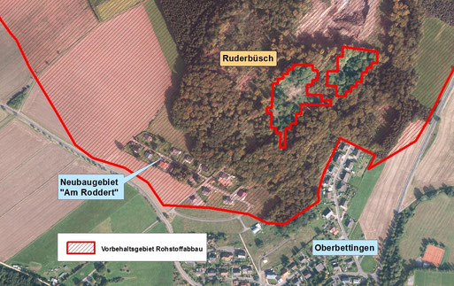 Detailkarte des Vorranggebietes Ruderbüsch mit integrierter Straßensiedlung
