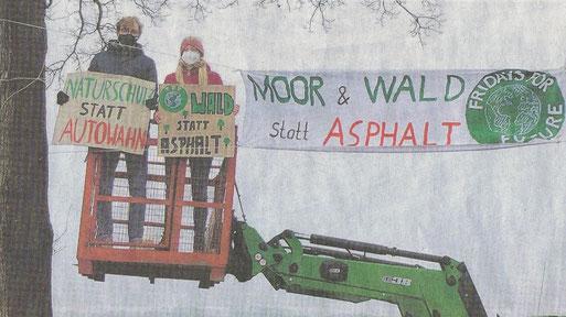 6. Februar 2021: Die FFF-Jugend protestiert gegen die A 20 in Dringenburg, Foto NWZ