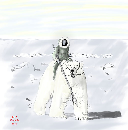 Eisbärreiter aus dem Ruugfröst - Gebirge, dem Raureif - Gebirge
