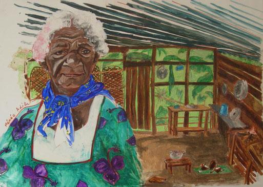peinture-vieille-femme-kanak-tribu-kanak-nouvelle-calédonie