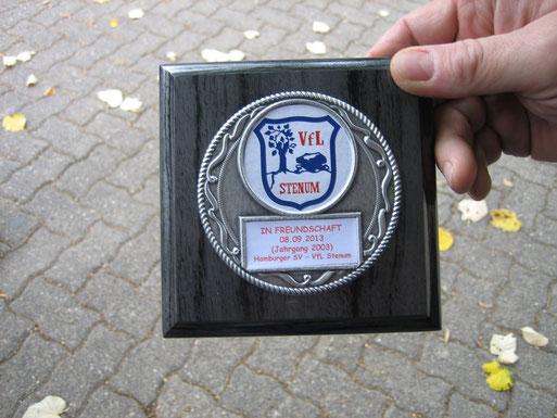 Das von Raimund gefertigte Andenken an unser Freundschaftsspiel für den Hamburger SV
