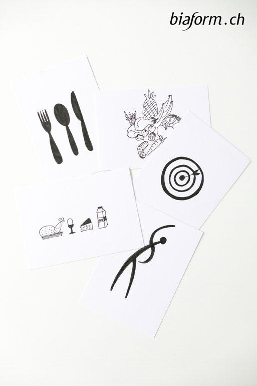 Blog Schweiz, Schweizer Bloggerin, biaform, gesund abnehmen, lebensmittel icons, zeichnung gabel, zeichnung früchte, zeichnung gemüse, schweizer blog