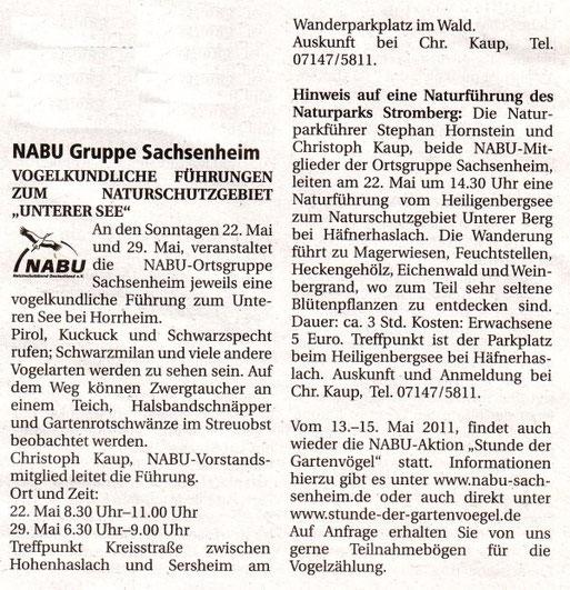 Nachrichtenblatt 2011/10 vom 13. Mai 2011 Ankündigung Führungen und Stunde der Gartenvögel