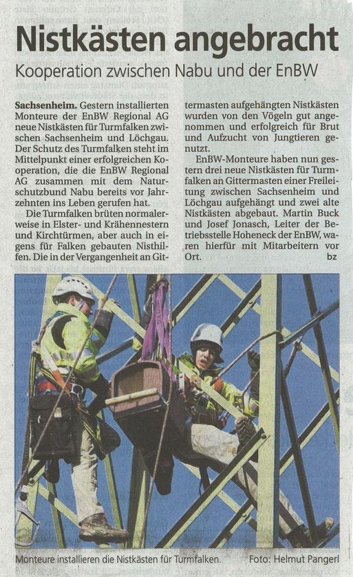Bietigfheimer Zeitung am 19.01.2012 über Montage Turmfalkennisthilfen mit NABU und enBW