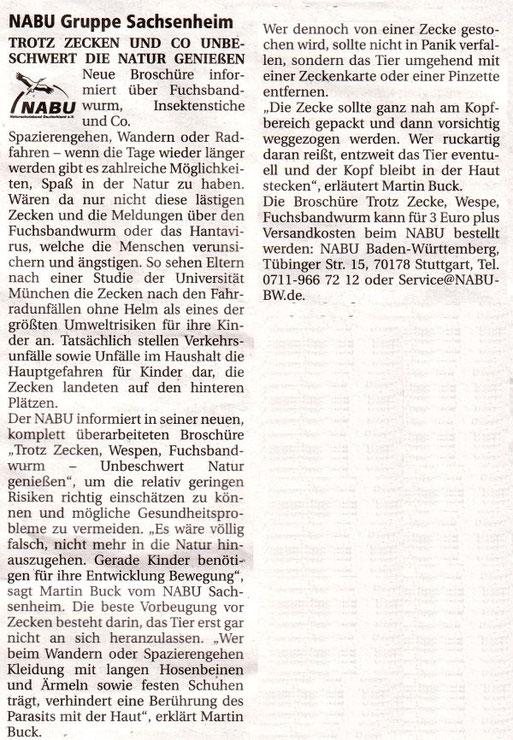 Nachrichtenblatt 2011/9 vom 30. April 2011   Info - Trotz Zecken Natur genießen