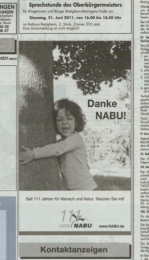 Die Bietigheimer Zeitung unterstütz den NABU mit regelmäßigen Freianzeigen. Und dafür wollen wir uns an dieser Stelle auch mal herzlich bedanken.