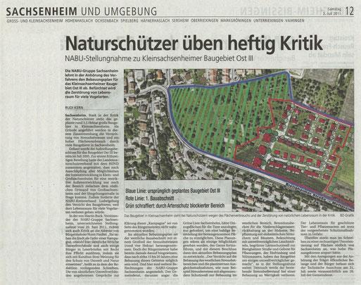 Bietigheimer Ztg. vom 2. Juli 2011 über NABU-Stellungnahme zum Baugebiet Kleinsachsenheim OstIII
