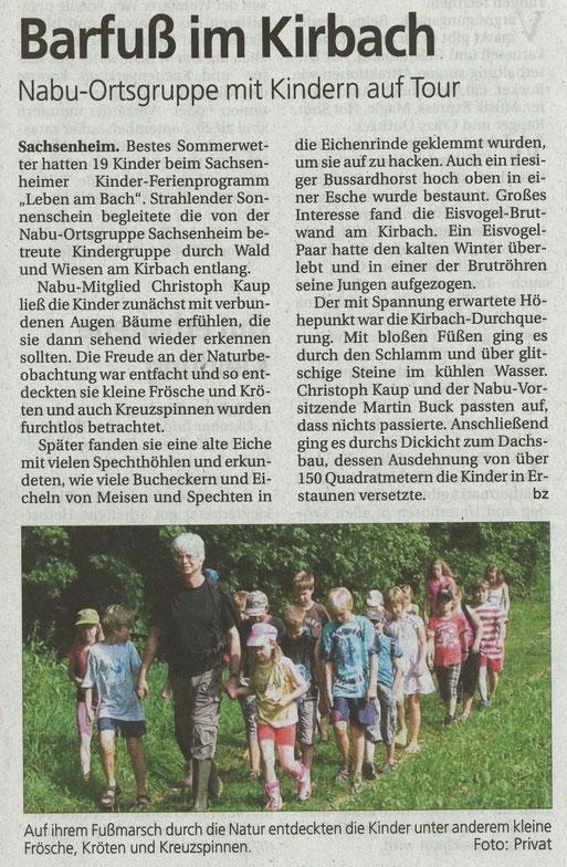 Bietigheimer Zeitung 2. September 2011 über NABU-Ferienprogramm