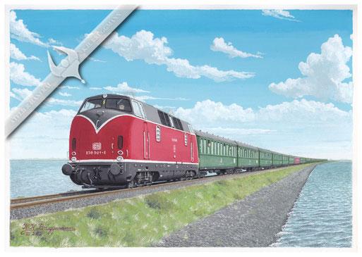 """Diesellok DB 230 001- 8 mit 13 Wagensonderzug """"Nixe"""" auf dem Hindenburgdamm, 1972"""