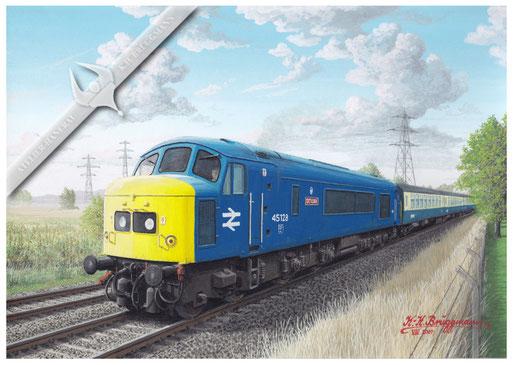 Diesellok BR 45 128 bei Attenborough, 1982. Mit der Achsfolge 1Co-Co1 ist diese Maschine eine Ausnahme in der Diesellokreihe.