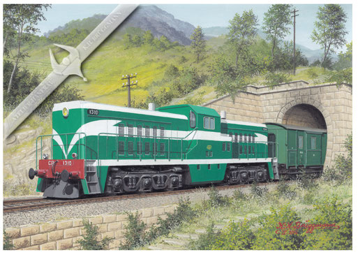 Diesellok CP 1310 im Douro-Tal nach Potro in den 60ern, Aquarell