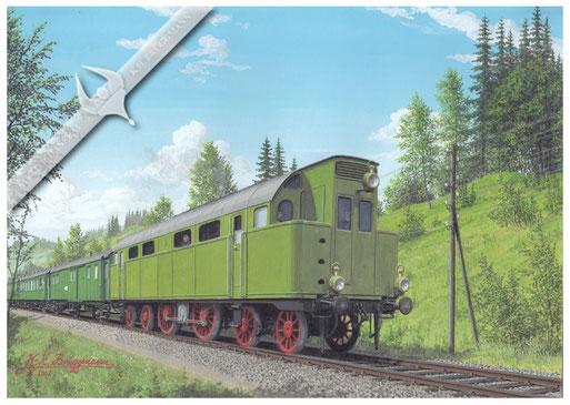 Diesel-Klose-Sulzer Thermolokomotive auf Testfahrt vor einem Regelzug, zwischen Winterthur und Romanshorn, 1913, Aquarell. Erste in Deutschland gebaute Großdiesesllok.