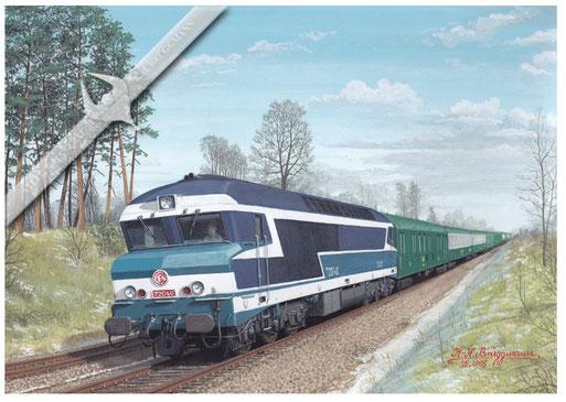 Diesellok SNCF CC 72040 mit Schnellzug Paris - Brest, 1973