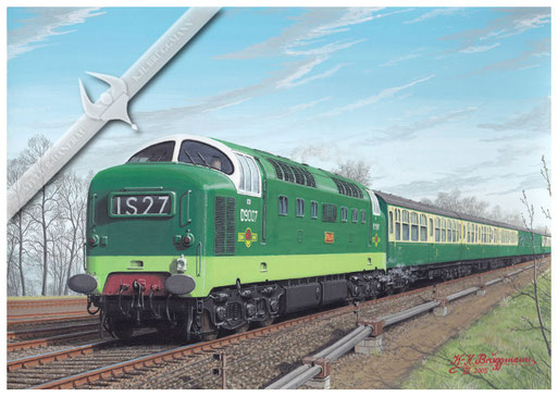 "Diesellok Deltic, BR D9007 ""PINZA"" mit Schnellzug Paddington - Penzance 1961, Aquarell"