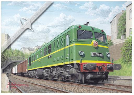 Diesellok SNCF 64 026 durchfährt den Haltepunkt Menilmontant auf der Pariser Gürtelbahn 1962