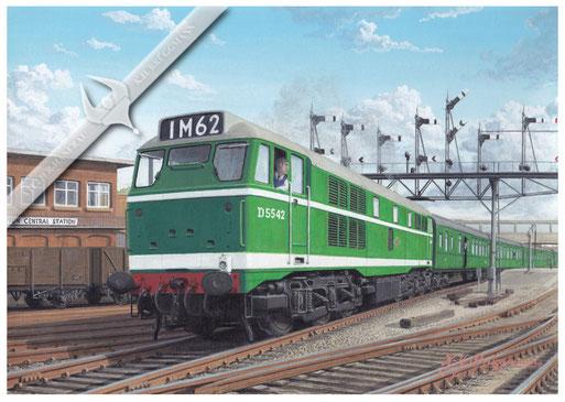 Diesellok BR D5542 bei der Ausfahrt aus Southampton Central, 60er Jahre
