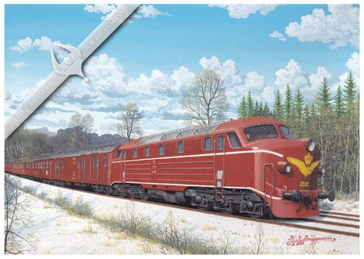 Diesellok DSB 1202 mit Schnellzug Alborg-Kobenhavn, 1958