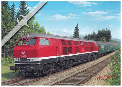 Diesellok DB V 320 001 mit Schnellzug im Allgäu 1966
